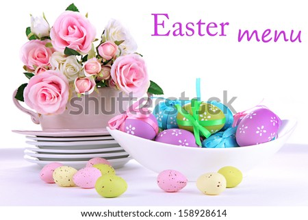 Place setting for Easter isolated on white - stock photo