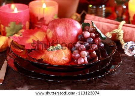 Place setting for Thanksgiving table - stock photo