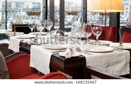 Place setting in an expensive restaurant, selective focus