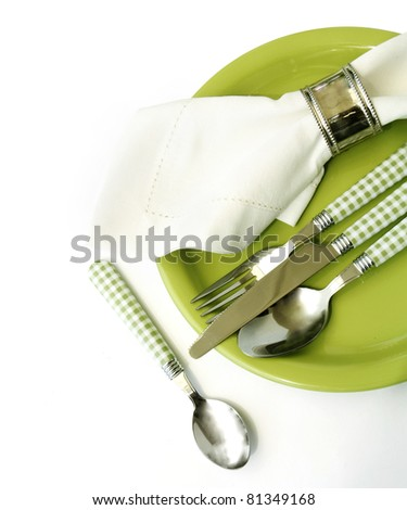 Place setting in green