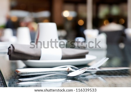 Place setting in the restaurant