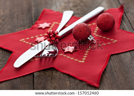 place setting on wooden background  - stock photo