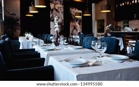Place setting ready for the banquet. Soft focus. - stock photo