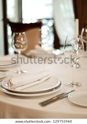 Place setting, restaurant - stock photo