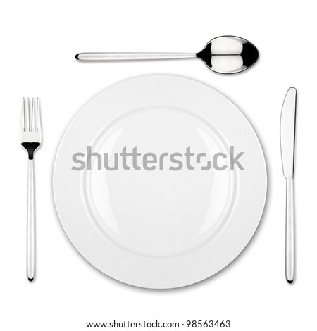 place setting with dish fork,spoon and knife