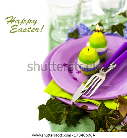 Place Setting with Easter Candles - stock photo
