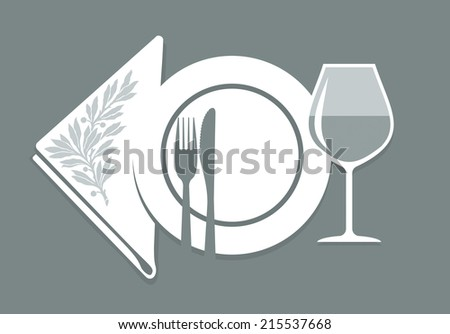 place setting with plate, cutlery, wine glass and serviette