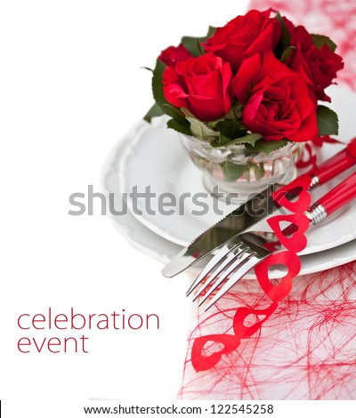 Place Setting with  Red Roses - stock photo
