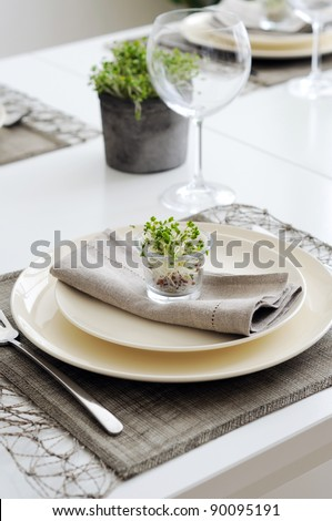 Place setting with young  Broccoli sprouts - stock photo