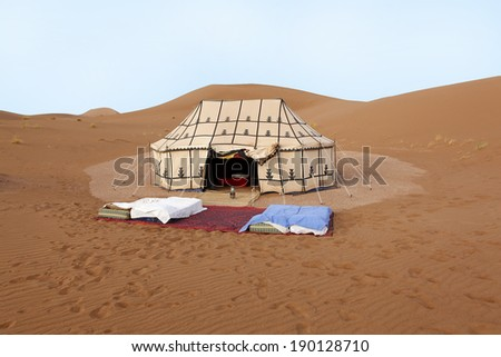 Place to sleep in the desert in Morocco - stock photo