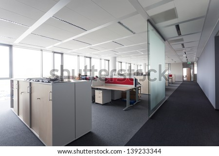 Place to work in modern office building - stock photo