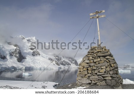 place where the first Antarctic wintering French expedition Jean-Baptiste Charcot in the Antarctic Peninsula - stock photo