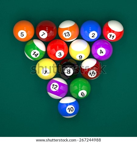 Placed billiard balls on table on green table background - stock photo