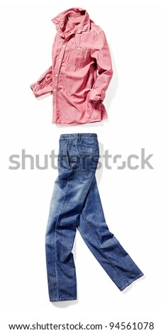 placed denim in action: male blue jeans and red shirt