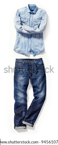 placed denim in action: male blue jeans and shirt - stock photo