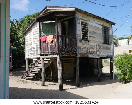 PLACENCIA, BELIZEu2014JANUARY 2018: Old Wooden Houses In Stilts Are Becoming  Fewer As