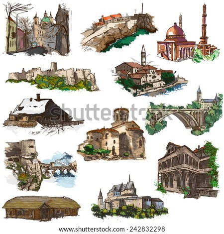 Places and ARCHITECTURE around the World - Collection of an hand drawn colored illustrations (pack no.17). Full sized hand drawn illustrations drawing on white. - stock photo