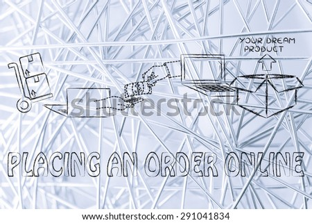 placing an order online: laptops, hands exchanging money and parcel delivered - stock photo