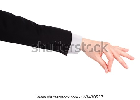 Placing hand sign isolated on white background