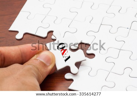 Placing missing a piece of puzzle with Q&A  as Questions and Answers