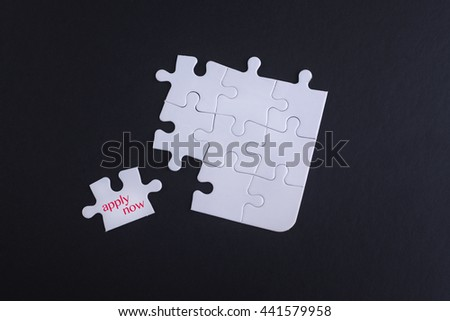 placing the last jigsaw puzzle piece with word apply now