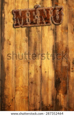 "plague ""menu"" hanging by a wooden wall - stock photo"