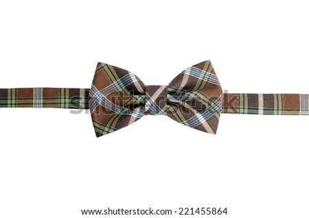 Plaid bow tie isolated on white background with clipping path - stock photo