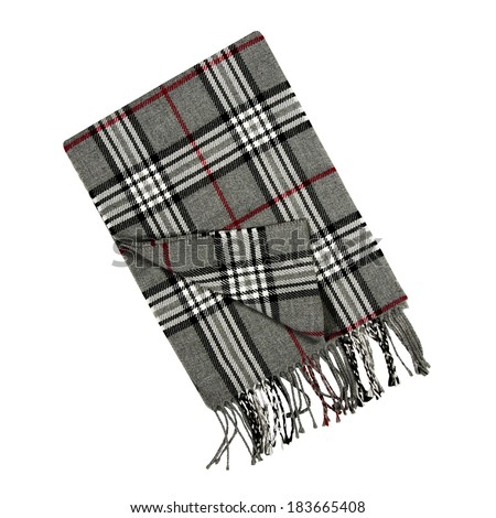 Plaid scarf isolated on a white background - stock photo