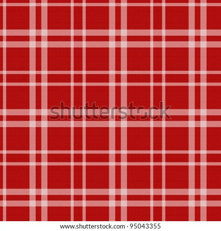 Plaid - simple red and white - stock photo