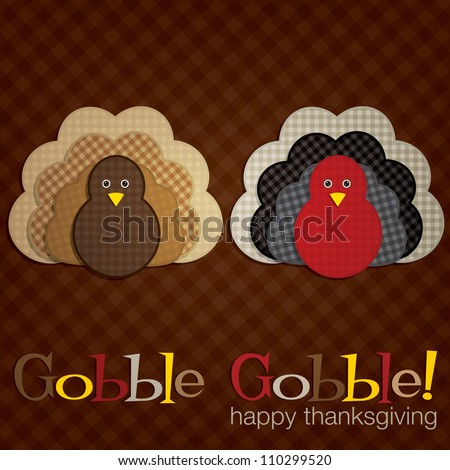 Plaid turkey Thanksgiving card in vector format. - stock photo