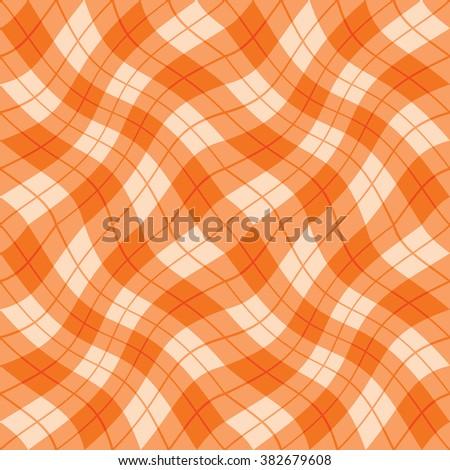 Plaid Twist seamless wavy gingham pattern in shades of orange. - stock photo