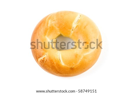 Plain bagel isolated on white background with copy space, in horizontal format