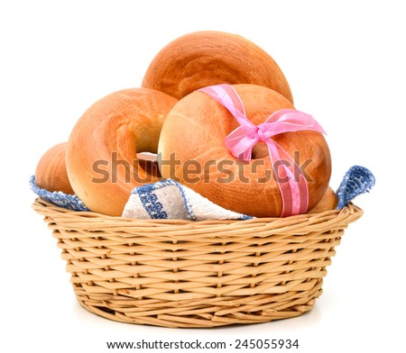 Plain bagels gift isolated over white background