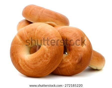 plain bagels on white background  - stock photo