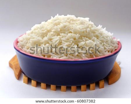 Plain Boiled Rice - stock photo