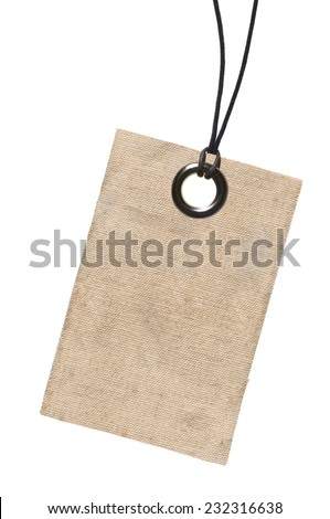 Plain canvas tag with metal eyelet and string. Hard light to emphasize texture of canvas.