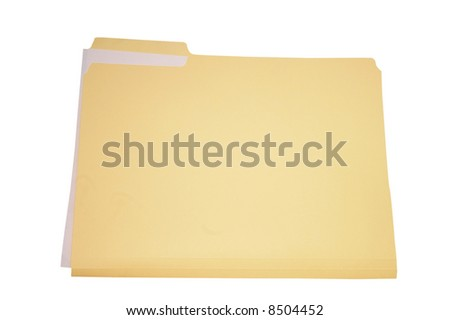 Plain folder with white paper, isolated on white
