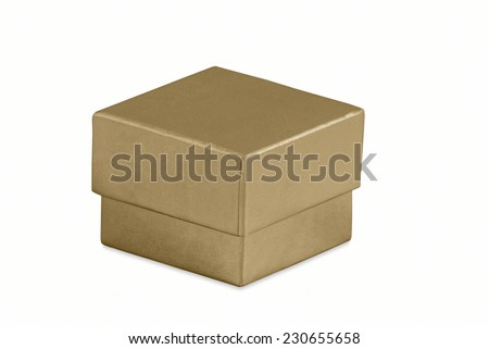 Plain Gold Box on White with Clipping Path  - stock photo