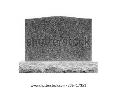 Plain Gray Granite Monument Stone Isolated on White