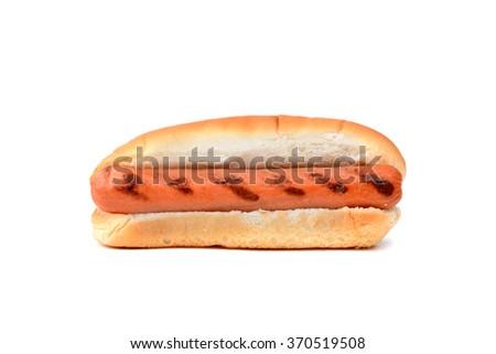 plain hot dog in bun isolated on white background - stock photo