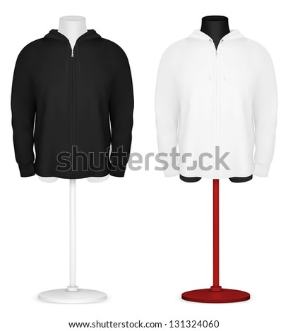 Plain long sleeve hooded jacket on mannequin torso template. - stock photo