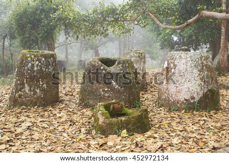 Plain of Jars on a foggy morning, Laos, Asia