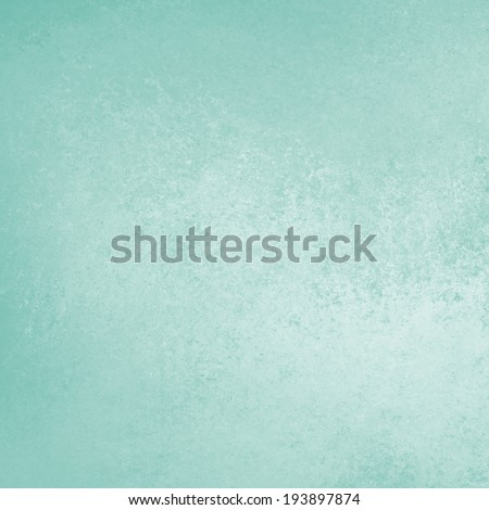 plain pastel blue green background with solid color and vintage distressed texture and soft light white corner color splash accent - stock photo