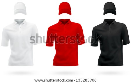Plain polo t-shirt template. - stock photo