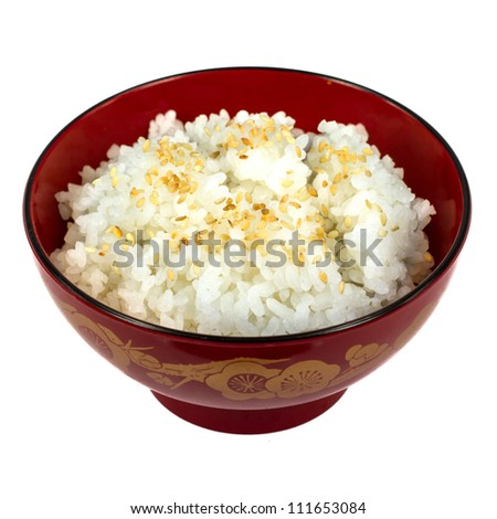 plain rice on the red cup japan style - stock photo