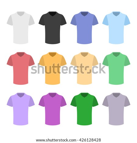 Plain T-shirt Color Template Set in Flat Design Style. illustration