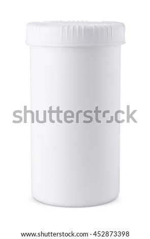 Plain white blank plastic jar product packaging design mockup