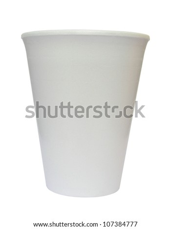 Plain white foamed polystyrene cup isolated on white background