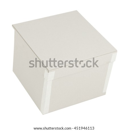 Plain white paper cardboard gift box uncovered closed empty christmas birthday isolated