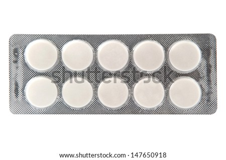 Plain white tablet in transparent blister pack - stock photo
